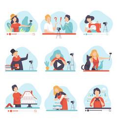 blogging and vlogging set people demonstrating vector image