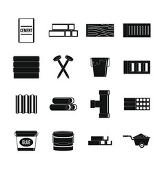 Building materials icons set simple style vector