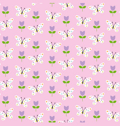 butterflies and tulips pattern vector image