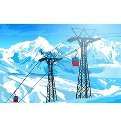 Cableway in Alps vector image