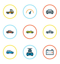 car icons colored line set with car speedometer vector image
