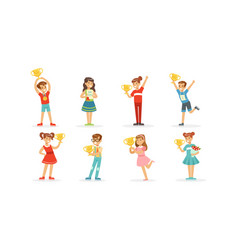 Children standing and holding awards vector