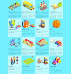 collection of school-themed posters with text vector image