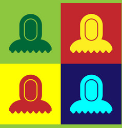 Color medieval hood icon isolated on vector