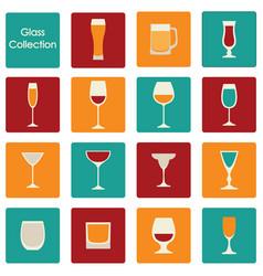 color wine glasses set vector image