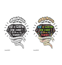 Coloring page and colored example with quote vector