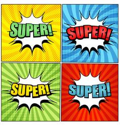 comic colorful super wordings set vector image