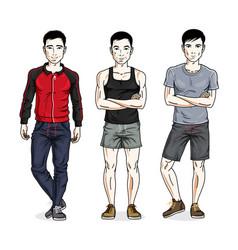 Confident handsome men posing in stylish vector