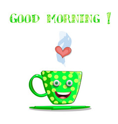 Cute cartoon smiling green female cup with yellow vector