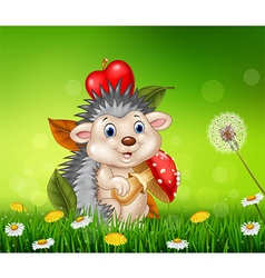 Cute little hedgehog sitting in the beautiful gras vector