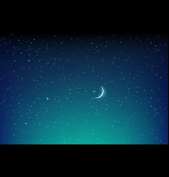 dark starry night landscape with stars and moon vector image