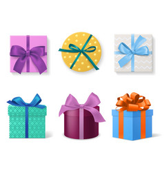 different colors gift boxes realistic 3d vector image