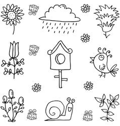 Doodle of spring flower set vector