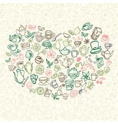 Doodle tea icons vector