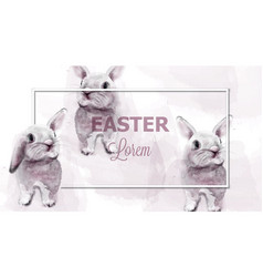 easter bunny rabbits watercolor cute vector image