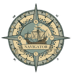 Emblem with a wind rose old compass and sailboat vector