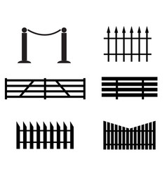 Fence set icon on white background black fence vector