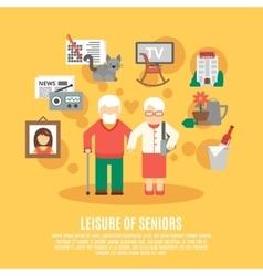 Flat Senior Poster vector