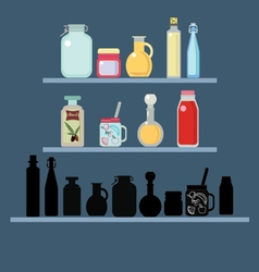 Flat set of different shape jars and bottle vector image