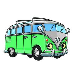 Funny small retro bus or van with eyes vector