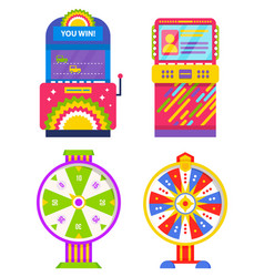 Game machine and fortune wheel gambling device vector