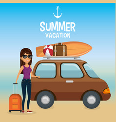 girl in the beach with summer vacations icons vector image