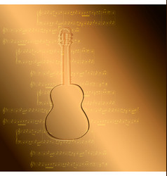 gold gradient background - guitar and music notes vector image
