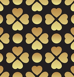 Gold seamless pattern with clover leaves the vector