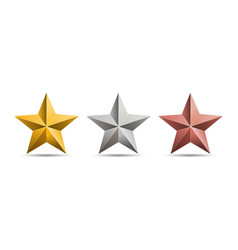 gold silver bronze 3d metal stars isolated vector image