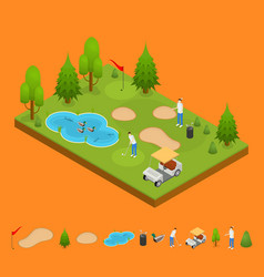 golf composition concept and elements part 3d vector image