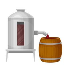 Grape wine pouring in wooden barrels for storing vector
