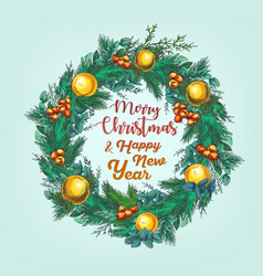 greeting card with cristmas wreath vector image