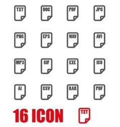 Grey file type icon set vector