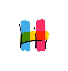 H letter logo handwritten with a multicolor vector