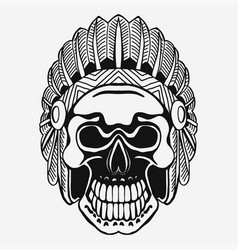indian skull with tribal feather hat dead chief vector image