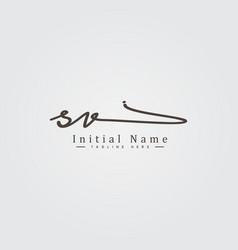 Initial letter sv logo - hand drawn signature logo vector