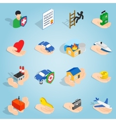 Insurance set icons isometric 3d style vector image