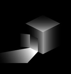 Isometric cube with door light from an open door vector