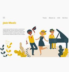 jazz music studio landing web page concept banner vector image