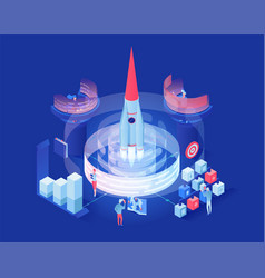 launching shuttle in space isometric vector image