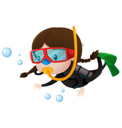 little girl scuba diving underwater vector image