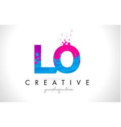 Lo l o letter logo with shattered broken blue vector