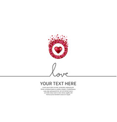 Love with red heart and circle on white vector