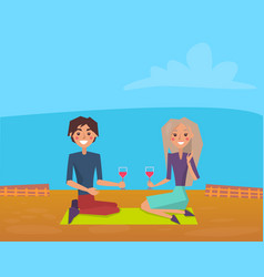 loving couple having picnic drinking wine vector image