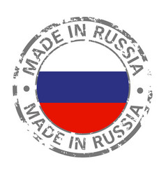 made in russia flag grunge icon vector image