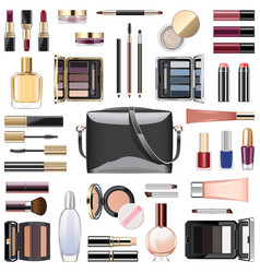 Makeup cosmetics with black handbag vector