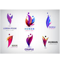 man human logos people community creative hub vector image