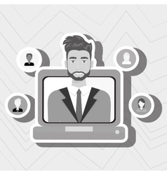 man laptop relation persons vector image