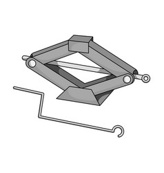 Mechanical jackcar single icon in monochrome vector