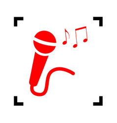 microphone sign with music notes red icon vector image